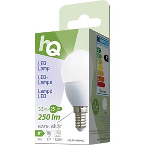 LED bulb, teardrop design E14 3.5 W 250 lm 2700 K, EEC A+ HQ HQLE14MINI002