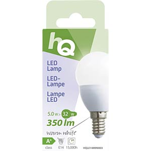 LED bulb, teardrop design E14 5 W 350 lm 2700 K, EEC A+ HQ HQLE14MINI003