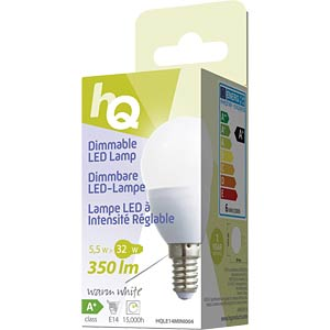 Dimmable LED bulb, teardrop design E14 5.5 W 350 lm 2700 K, EEC HQ HQLE14MINI004