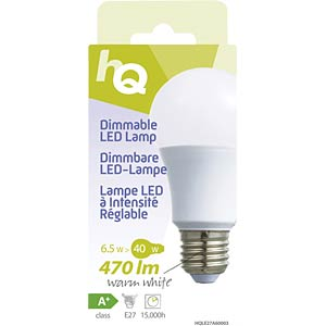 Dimmable LED bulb, A60 E27 6.5 W 470 lm 2700 K, EEC A+ HQ HQLE27A60003