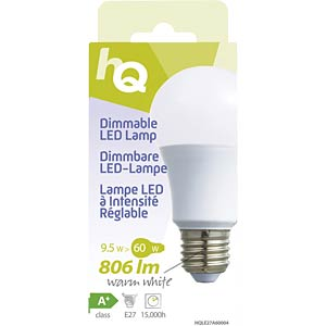 Dimmable LED A60 E27 9.5 W 806 lm 2700 K, EEC A+ HQ HQLE27A60004
