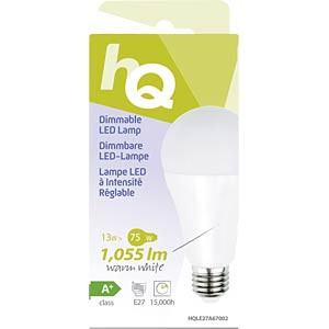 Dimmable LED bulb, A67 E27 13 W 1055 lm 2700 K, EEC A+ HQ HQLE27A67002