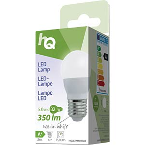 LED bulb, teardrop design E27 5 W 350 lm 2700 K, EEC A+ HQ HQLE27MINI002
