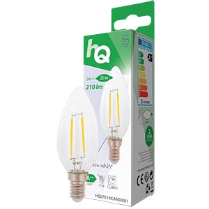filament LED lamp,  2 w, 210 lm, 2700 k HQ HQLFE14CAND001