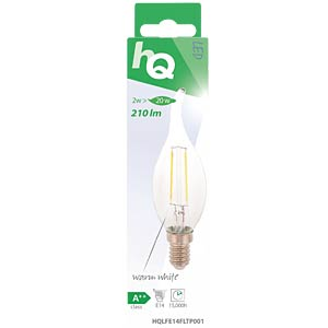 filament LED lamp,  2 w, 210 lm, 2700 k HQ HQLFE14FLTP001