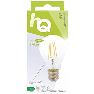 filament LED lamp,  4 w, 370 lm, 2700 k HQ HQLFE27A60003