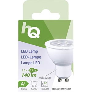 LED-Lampe MR16 GU10 2,5 W 140 lm 2.700 K, EEK A+ HQ HQLGU10MR16001