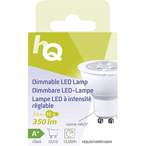 Dimmbare LED-Lampe MR16 GU10 5,5 W 350 lm 2.700 K, EEK A+ HQ HQLGU10MR16004