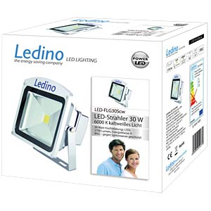 LED floodlight, 30 W, 6000 K, silver, EEC A LEDINO LED-FLG30SCW
