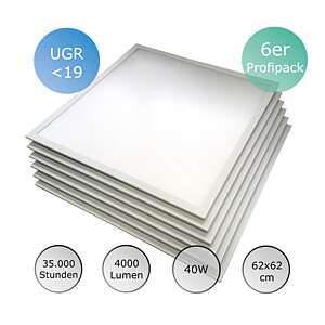 LED-Panel, Profipack, 40 W, 62x62 cm, UGR19, 35000 h, 4500 K OPTONICA