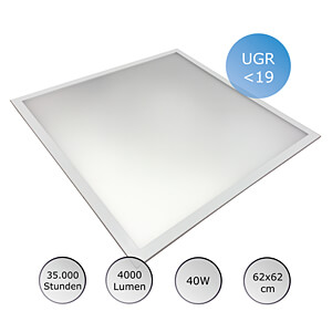 LED-Panel, 40 W, 62x62 cm, UGR19, 35000 h, 4500 K OPTONICA