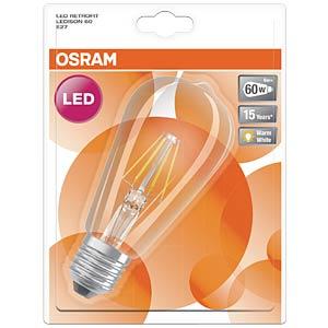 LED-Lampe E27 RETROFIT EDISON, 4 W, 470 lm, 2700 K, Filament OSRAM 4052899972346