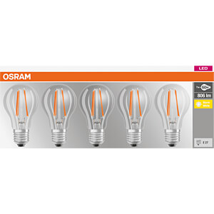 LED-Lampe BASE E27, 7 W, 806 lm, 2700 K, Filament, 5er-Pack OSRAM 4058075090569