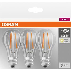 LED-Lampe BASE E27, 7 W, 806 lm, 2700 K, Filament. 3er-Pack OSRAM 4058075819290