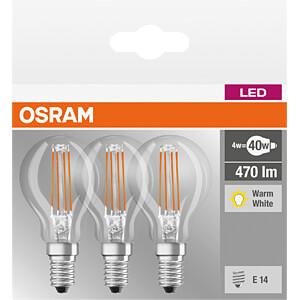 LED-Lampe BASE E14, 4,5 W, 470 lm, 2700 K, Filament, 3er-Pack OSRAM 4058075819337
