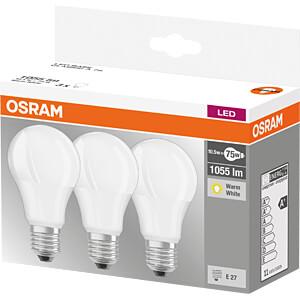 LED-Lampe BASE E27, 10,5 W, 1060 lm, 2700 K, 3er-Pack OSRAM 4058075819436