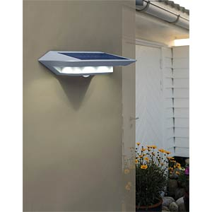 Solar Walllamp with motion sensor, silver ECO LIGHT P 9014 SI