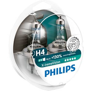 H4 headlight bulb Philips X-treme Vision, twin pack PHILIPS 12342XVS2