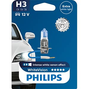 H3 headlight bulb Philips White Vision, single unit PHILIPS 77951930