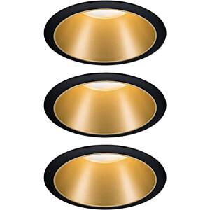 Inbouwlamp LED Cole 3x6,5 W, 2700 K, zwart/goud mat PAULMANN 93404