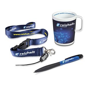 Ballpoint pen, lanyard strap, cup REICHELT FANBOX
