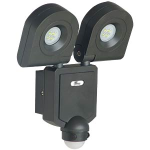 LED wall floodlight, 2x 2 x 10 W, with motion detector TELESOUND 46-54103