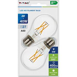 LED-Lampe E27, 4 W, 400 lm, 2700 K, 2er-Pack V-TAC 7283