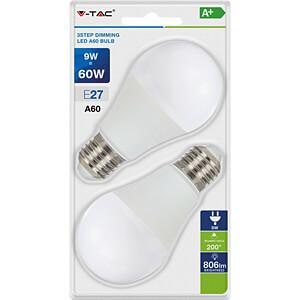 LED-Lampe E27, 9 W, 806 lm, 2700 K, mit 3-Stufen-Dimmer V-TAC 7288