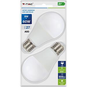 LED-Lampe E27, 9 W, 806 lm, 4000 K, mit 3-Stufen-Dimmer, 2er-Pac V-TAC 7289