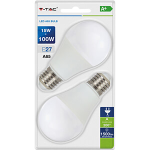 LED-Lampe E27, 15 W, 1500 lm, 2700 K, 2er-Pack V-TAC 7300