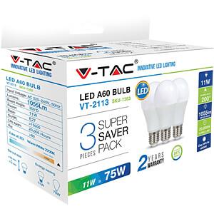 LED-Lampe E27, 11 W, 1055 lm, 4000 K, 3er-Pack V-TAC 7353