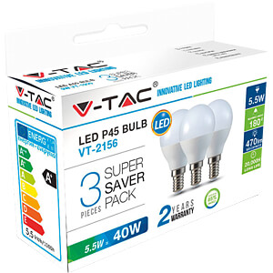 LED-Lampe E14, 5,5 W, 470 lm, 2700 K, 3er-Pack V-TAC 7357