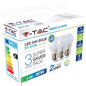Ledlamp E27, 5,5 W, 470 lm, 6400 K, verpakking van 3 V-TAC 7364