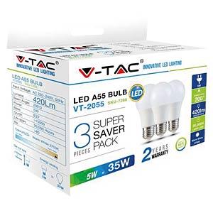 LED-Lampe E27, 5 W, 420 lm, 2700 K, 3er-Pack V-TAC 7266