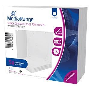 CD Jewelcase for 2 disc, Pack 5 MEDIARANGE BOX31-T2