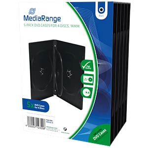 DVD Case for 4 disc, Pack 5 MEDIARANGE BOX35-4