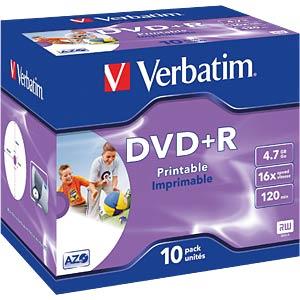 Verbatim DVD+R 4,7GB,10erJewelCase, printable VERBATIM 43508