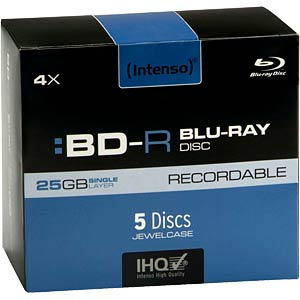 Intenso Blu-ray BD-R 25 GB, set of five, jewel case INTENSO 5001215