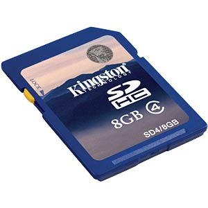 SDHC card, 8 GB, Kingston Class 4 KINGSTON SD4/8GB