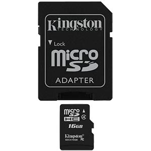 MicroSDHC-Speicherkarte 16GB, Kingston Class 4 KINGSTON SDC4/16GB