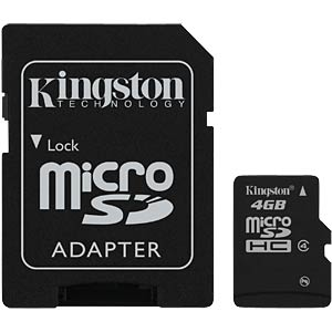 MicroSDHC card, 4 GB, Kingston class 4 KINGSTON SDC4/4GB