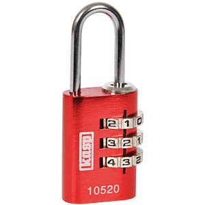 KASP combination lock, 3 rows, 20 mm, red KASP K10520REDD