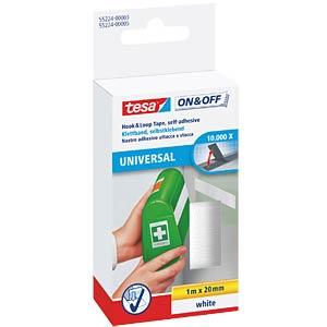tesa® On & Off Velcro tape, white TESA 55224-00003-01