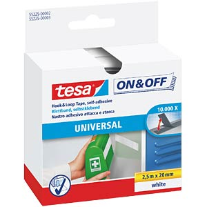 tesa® On & Off Velcro tape, white TESA 55225-00002-01