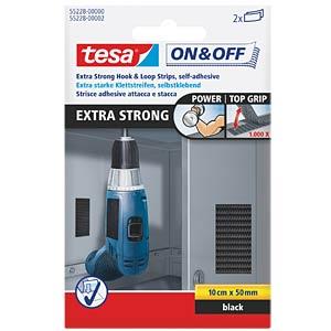 tesa® On & Off Velcro strips, black TESA 55228-00000-02