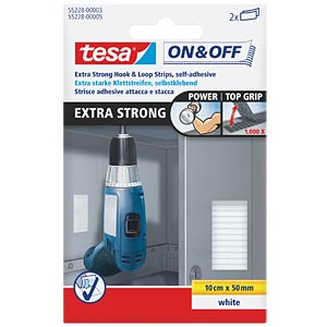 tesa® On & Off Velcro strips, white TESA 55228-00003-01