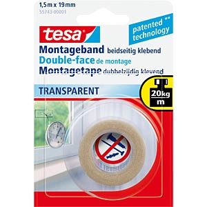 Montageband tesa Powerbond® Transparent, 1,5 m x 19 mm TESA 55743-00001-02