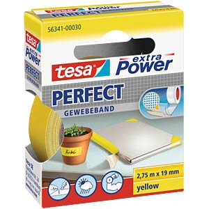 Gewebeband tesa extra Power® Perfect, 2,75 m x 19 mm, gelb TESA 56341-00030-03