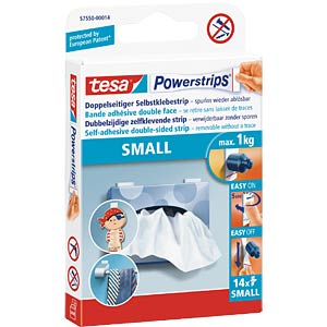 TESA Powerstrips – Small, 1.4 x 3.4 cm, 14 pieces TESA 57550-00014-01