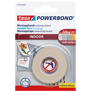 tesa Powerbond® Indoor, 1.50 m x 19 mm TESA 55740-00001-02